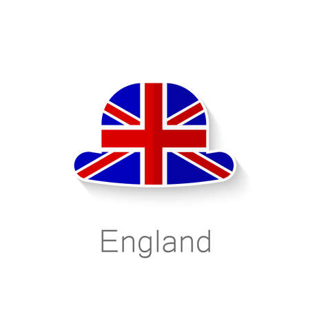 Flat icon - English hat - a hat in the color of the flag of Britain. Vector