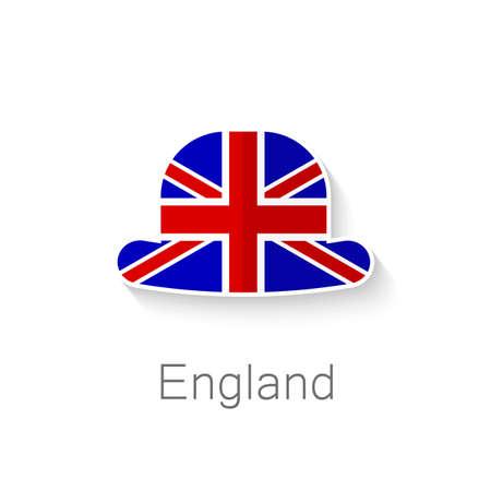bandera inglesa: Icono Flat - sombrero de Inglés - un sombrero en el color de la bandera de Gran Bretaña.