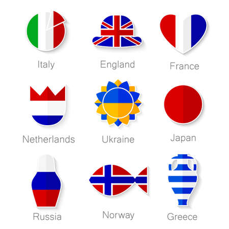 greece flag: Flat set of icons - of the country.  Illustration