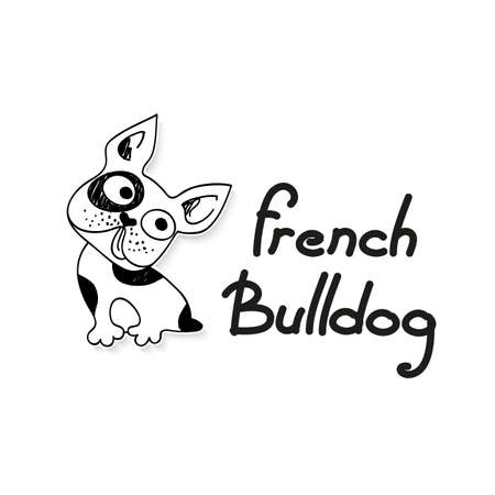 Funny French Bulldog - funny sketch illustration. Vector