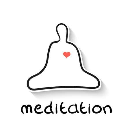 consept: Meditation a linear outline illustration