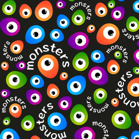 greeen: Abstract color pattern cartoon monsters eyes on a dark background