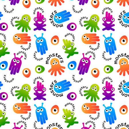 Monster and alien pattern design illustration Vector