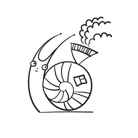 Snail and its cabin - a fun illustration  Vector  Vector