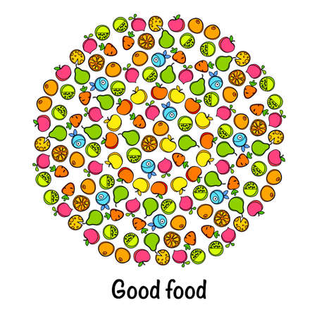good nature: Useful circle healthy good food from fruits, vegetables and fish. Illustration