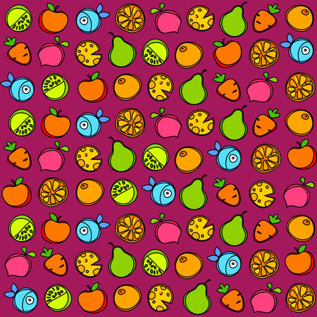 Seamless pattern of fruit and vegetables on a purple background. Vector