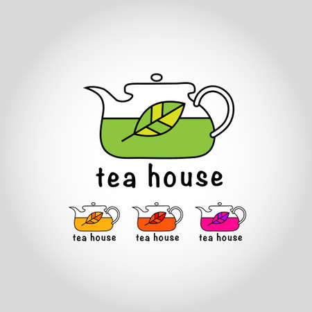 Sign - a kettle with tea leaf. Vector