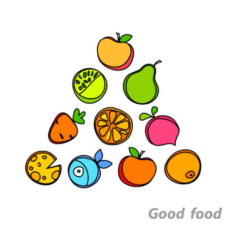Healthy food pyramid of fruits and vegetables.  Vector