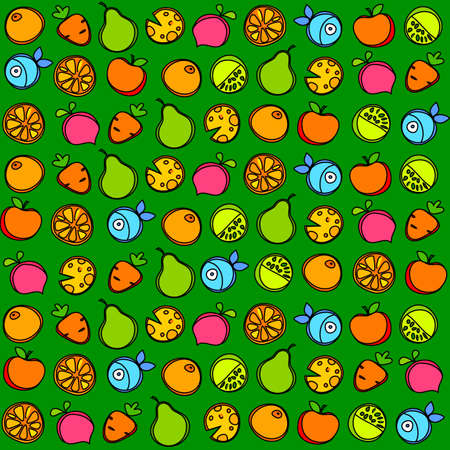 Healthy food. Seamless pattern of fruit and vegetables on a green background.  Vector