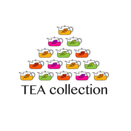 Tea kettles with tea leaves. Collection of different kinds of tea. Vector