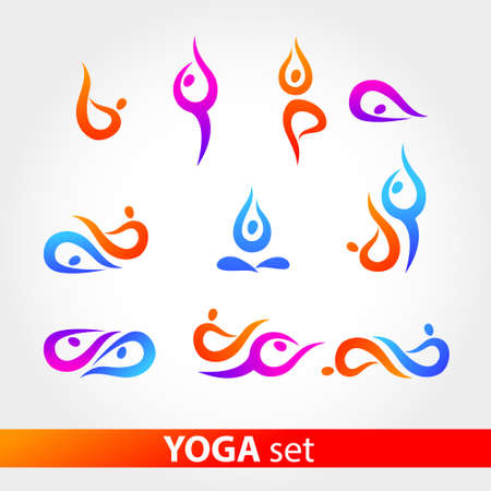 namaste: Figures in various poses on a white background.