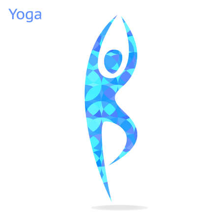 asana: Yoga asana - symbol on white background. Illustration