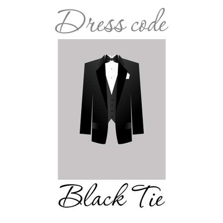 lazo negro: Código de vestimenta. Opciones. Vector.