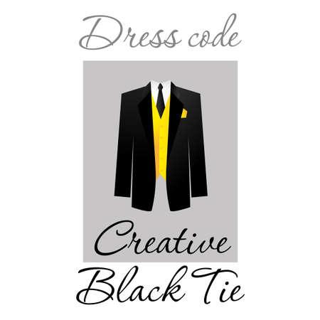 tuxedo: Dress code. Options. Vector.