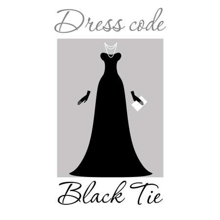 evening ball: Dress code. Options. Vector.
