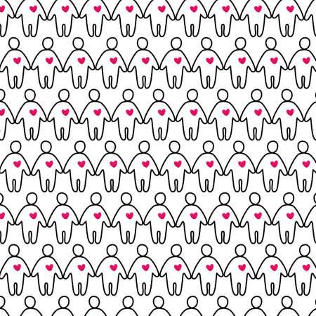 heart seamless pattern: people with heart - seamless pattern Illustration