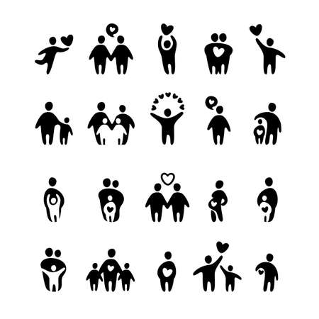 two person: family icon - vector set