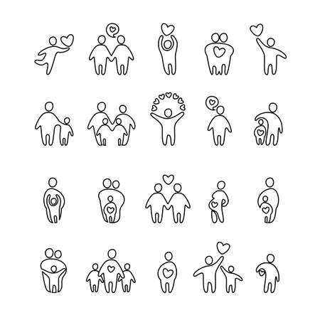 family with two children: family icon - vector set