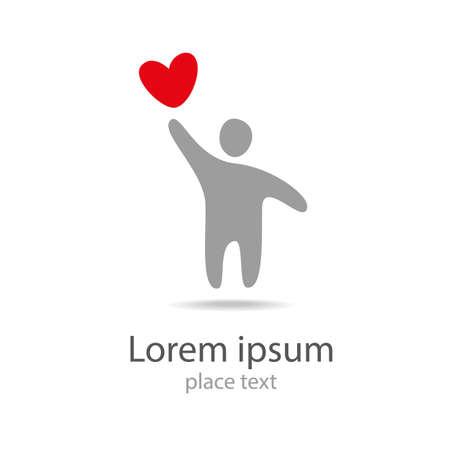 medizin logo: Mensch mit rotem Herz logo icon