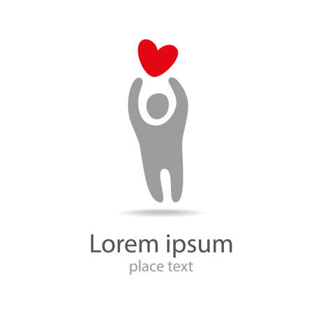 Human person with red heart logo icon