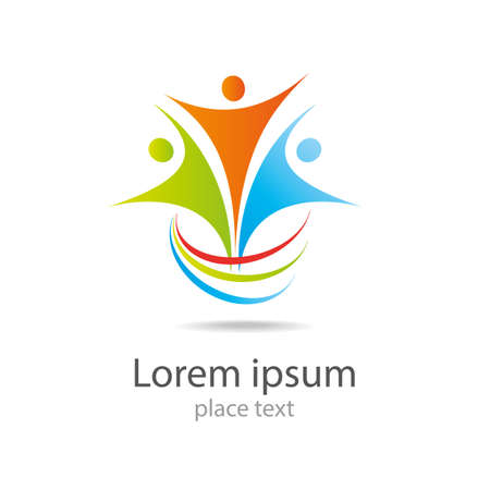 Design vector logo element Abstract people icon Çizim