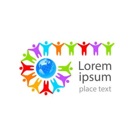Globus ziemi z ludzi szablonu logo - społeczność. Logo
