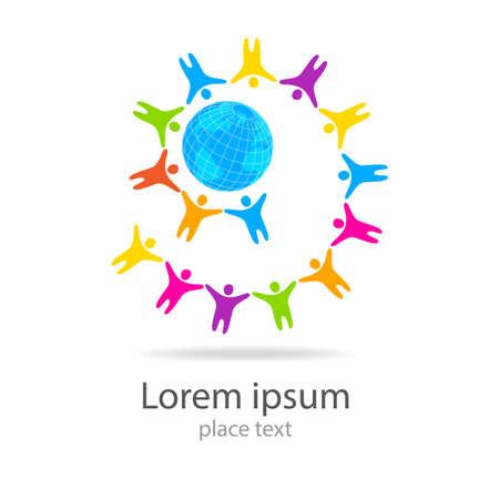 wereldbol: Earth wereldbol met mensen Template logo - gemeenschap. Stock Illustratie