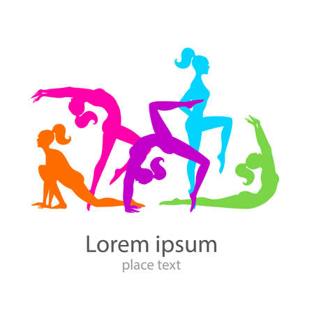 slim women: Female sports. Template logo. Fitness , Gym , Health & Beauty .