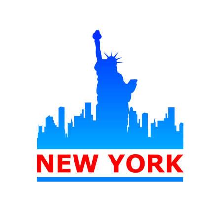 ニューヨーク市のスカイラインのシルエット。デザインのテンプレートです。