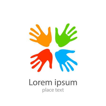 Diseño de la plantilla - símbolo de equipo, amistad, unido, ayuda, familia y otros.