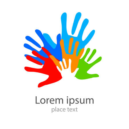 hand print: Template design -  symbol of  team, friendship, united , support, family  and others .