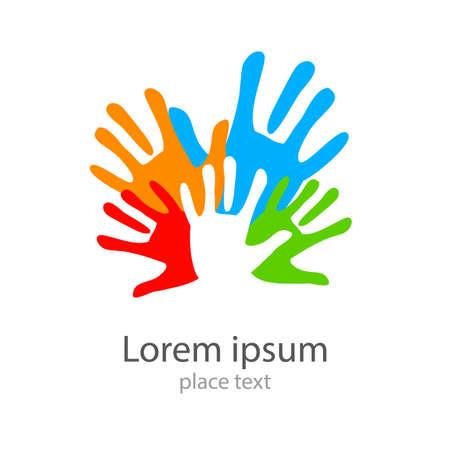 comunidad: Diseño de la plantilla - símbolo de equipo, amistad, unido, ayuda, familia y otros.