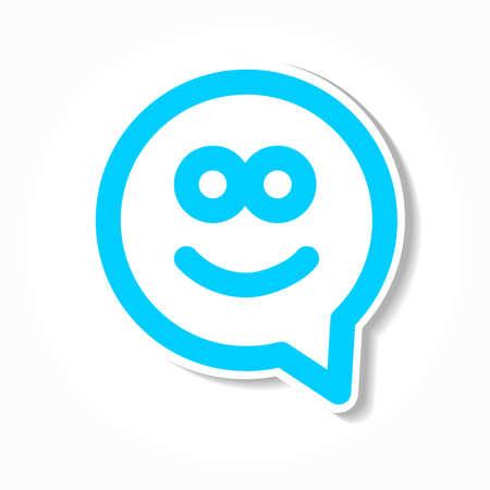 carita feliz: Sonrisa feliz - cara icono de la burbuja del discurso de chat. Modelo para el diseño.