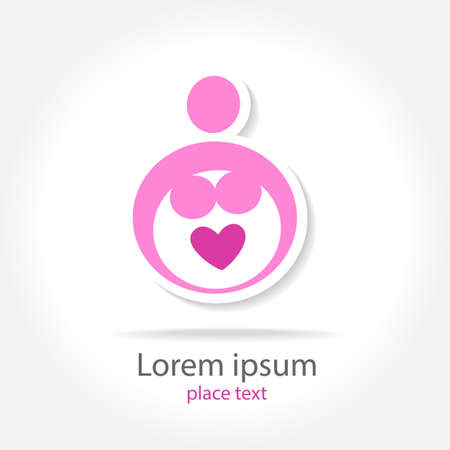 Pregnancy - template for design . Concept sign of motherhood. Vector