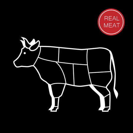 cut: meat - a template for the sign, logo or icon, or a grocery store meat, the designation of meat products.