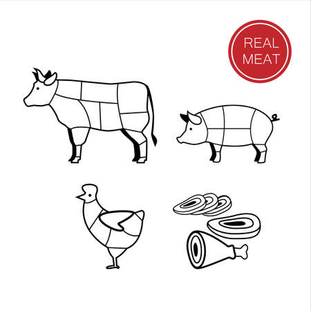 cerdos: carne - una plantilla para la muestra, logotipo o icono, o una tienda de comestibles de la carne, la designación de los productos cárnicos.