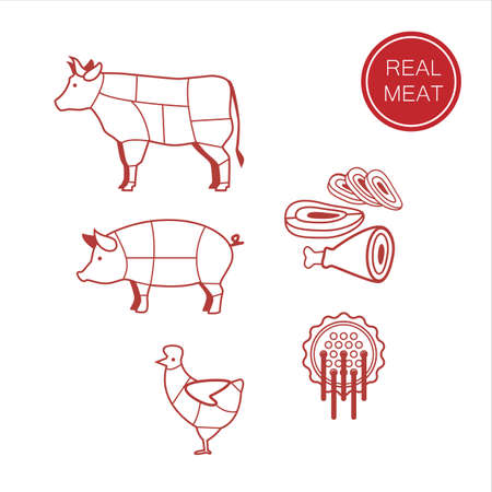 meat - a template for the sign, logo or icon, or a grocery store meat, the designation of meat products. Vector