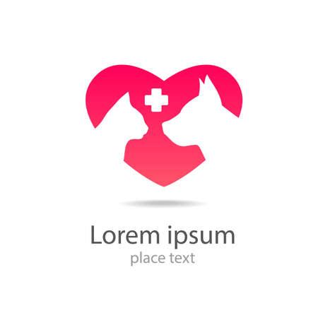 logo medicina: Plantilla de dise�o de logotipo para cl�nicas veterinarias - La medicina veterinaria.