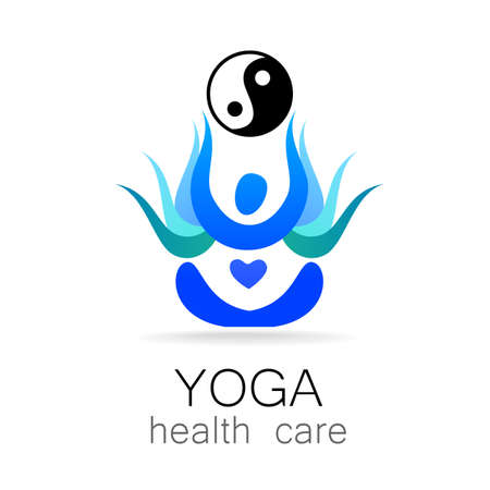 body shape: Yoga  design vector template.  Yoga concept icon. Meditation SPA .