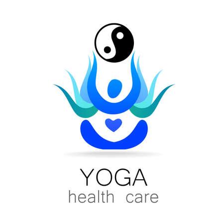 body massage: Yoga  design vector template.  Yoga concept icon. Meditation SPA .