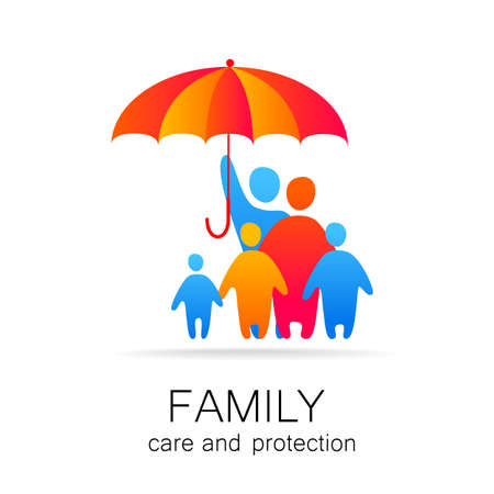 Concept of traditional family in full safety