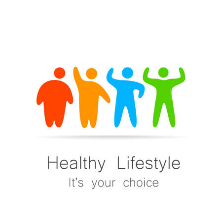 health care decisions: Healthy lifestyle - template for  of sports club, sporting goods, diet, health centers , etc. Illustration
