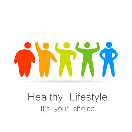 weight loss: Healthy lifestyle - template for  of sports club, sporting goods, diet, health centers , etc. Illustration