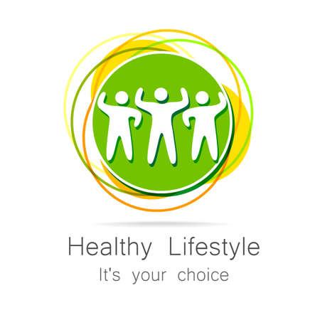 sporting goods: Forma de vida sana - plantilla para del club deportivo, art�culos de deporte, dieta, centros de salud, etc.