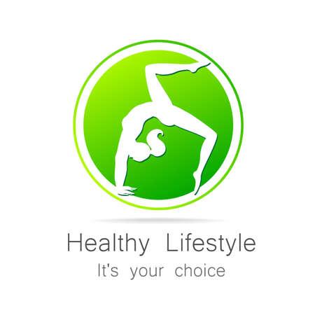 sporting goods: Estilo de vida saludable - plantilla para logos de club deportivo, art�culos de deporte, dieta, centros de salud, etc.