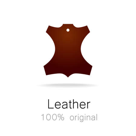 leather label: Leather - 100% original. Template sign for the label, , advertising, products made of leather. Illustration