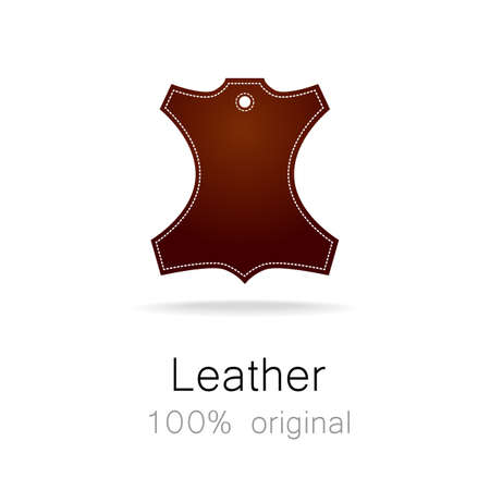 genuine leather: Leather - 100% original. Template sign for the label, , advertising, products made of leather. Illustration