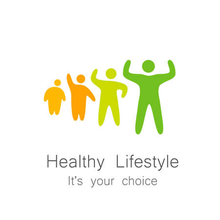 wellbeing: Healthy lifestyle - template for  of sports club, sporting goods, diet, health centers , etc. Illustration