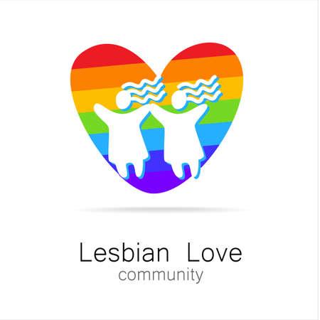 lesbienne: L'amour lesbien - conception de signe. Modèle.