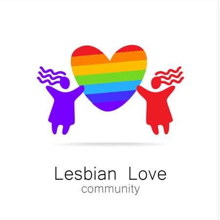 lesbian: L'amour lesbien - conception de signe. Template. Illustration
